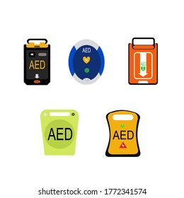 This are cartoon of AED machine for electric shock. Life support concept.