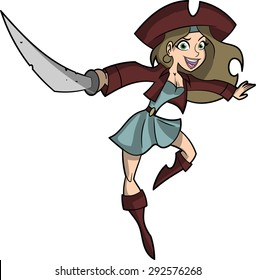 This is a cartoon vector illustration of a beautiful lady pirate mascot character.