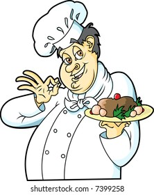This is a Chef presenting a dish.