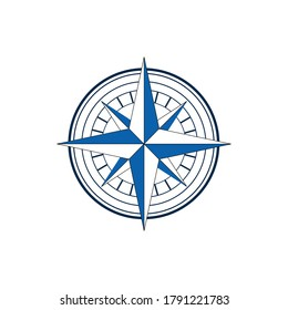 this is a classic symbol of compass in black and white and blue color that looks elegant on a white background