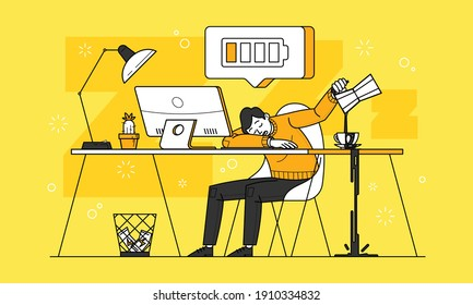 This colorful illustration depicts a adult tiredness person suffering from chronic fatigue syndrome