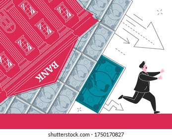 This colorful illustration depicts the effects of the economic crisis, the collapse of the banking sector and the currency, devaluation and other negative effects that affect society