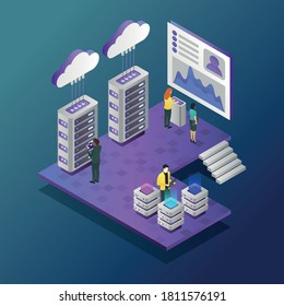 This colorful illustration depicts the modern work environment, which includes teamwork in the office, processing data streams, and transferring them to cloud storage, servers maintenance, etc.