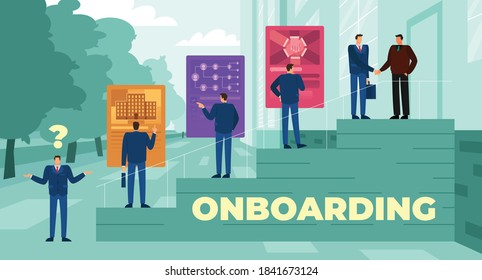This colorful illustration depicts the onboarding process, integrating a new employee into the organization and its culture