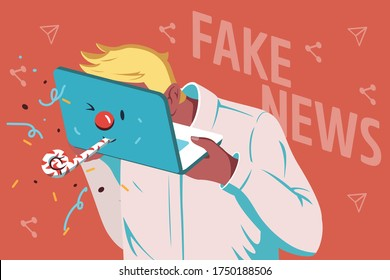 This colorful illustration depicts a person who disseminates fake news on the Internet