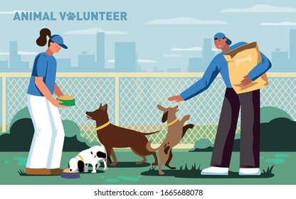 This colorful illustration depicts a young guy and a girl, these are volunteers, they feed homeless dogs in an animal shelter