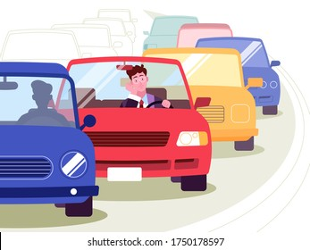 This colorful illustration depicts a young man, he is in a traffic jam that formed on the road, he is a bad mood