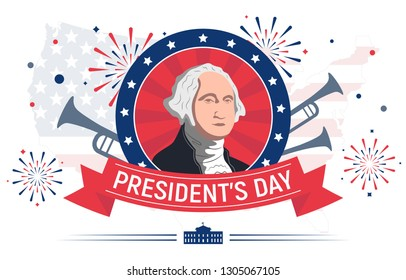 This colorful illustration is devoted to the Presidents' Day celebrated in the United States of America. It depicts the first President of the United States - George Washington - as well as the White