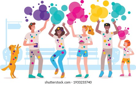 This colorful illustration shows cute and cheerful young people having fun and throwing Holi colors into each other