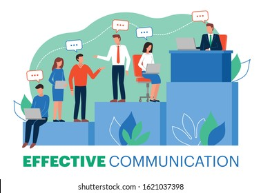 This colorful illustration shows effective vertical communication within a team