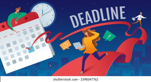 This colorful illustration shows people in a rush to finish their affairs before the due date marked in the calendar
