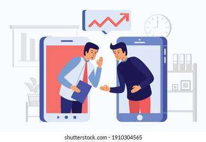 This colorful illustration shows a two man share a information about a important company or organization data, that is known only to the employees of the company or organization and not to the public