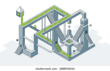 This colorful line art illustration shows an optical labyrinth of staircases running at different angles