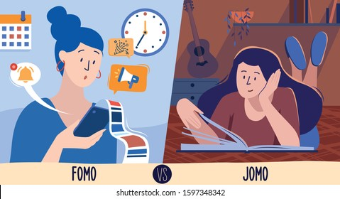 This colourful illustration shows the modern generation millennial, a young girl, symbolizing Fomo and Jomo, two conditions in which a person can reside