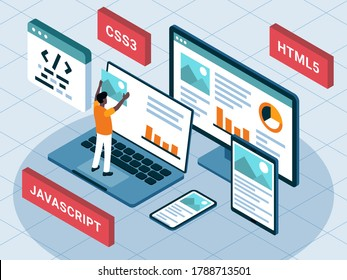 This colourful illustration shows the process of creating website and mobile application using front-end software
