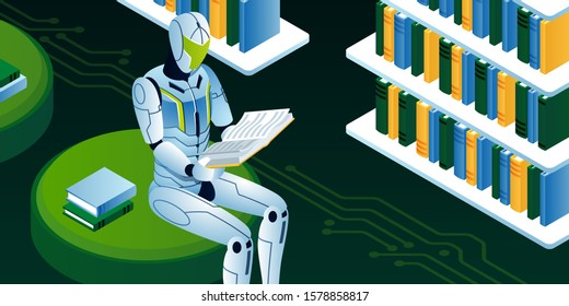 This colourful illustration shows a robot who is reading a book in a library, the robot is going through machine learning