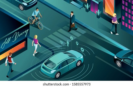 This colourful isometric illustration shows a smart car in city traffic with sensor autonomous drive on road city