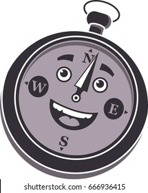 This compass character is super-excited to explore the world!