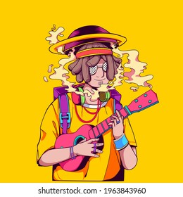 this is Cool Musicians Illustration, you can use this illustration for your artwork, sticker, merchandise, and others. choose the enhanced license for unlimited usage in print.