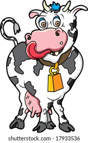 This is a cute cow ready to be milked.