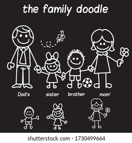 This doodle character vector can be used to make stickers on cars and can be customized according to the number of families and names can be edited according to the names of family members
