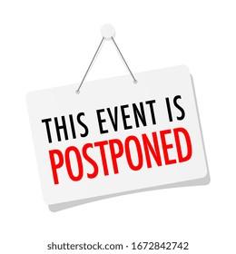 This event is postponed on door sign hanging