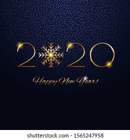 This is a festive New Year design with a golden inscription 2020 on a textured background. Vector illustration.