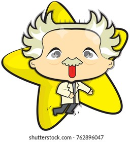 This file represents the famous scientist Einstein running into the laboratory of phisics. He's wearing a white medician dress.