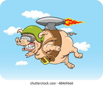 This is a flying pig with a jet pack.  The illustration is done in four layers for easy editing.