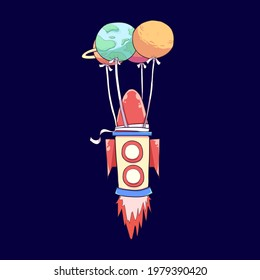 this is Flying Rocket using Ballon Planet Illustration, you can use this illustration for your artwork, sticker, merchandise, and others. choose the enhanced license for unlimited usage in print.