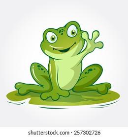 """This is a frog cartoon animal sitting on lotus leave, it's look like said """"hi..."""""""