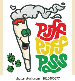 This is a funny illustration for the weed puff.
