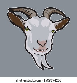 This goat face is a high-resolution logo mascot. With the design of a goat face looks evil makes this logo very attractive. This logo is more suitable to be applied to the sport or e-sport logo