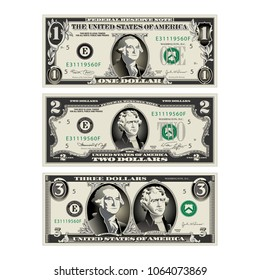 In this graphic, the 1 and 2 dollar bills are mereged to make a 3 dollar bill. Use in a variety of ways.