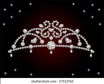 This graphic is diamond tiara. Illustration vector.