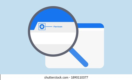 This graphic illustrates the website favicon location when displayed in search engine.