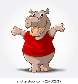 "This is a Hippo Cartoon animal with red shirt, it's look like said ""hi..."""