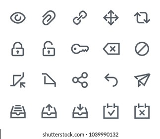 This icon set in bold outline style contains icons like View, Key and Archive. These vector icons will look great in any user interface design. Pixel perfect at 64x64.