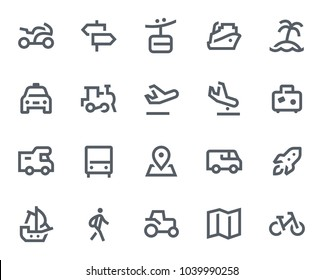 This icon set in bold outline style contains icons like Cruise Ship, Palm Tree and Airplane. These vector icons will look great in any user interface design. Pixel perfect at 64x64.