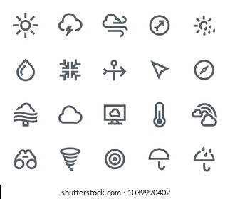 This icon set in bold outline style contains icons like Wind, Rainbow and Hurricane. These vector icons will look great in any user interface design. Pixel perfect at 64x64.