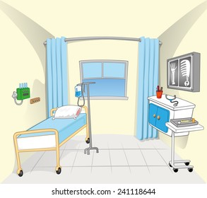 This illustration and background setting of a hospital room
