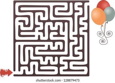 This is Illustration Of Balloon Maze