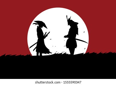 This is an illustration of the battle of two samurai in a meadow under the moonlight. This vector can be used to design background shirts, posters, brochures, bags and mugs.