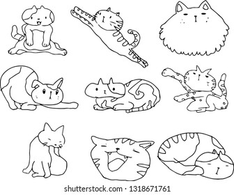 This is an illustration of a cute cat handwritten.