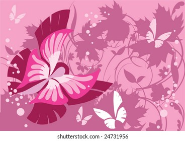 this illustration depicts beautiful butterfly and plants