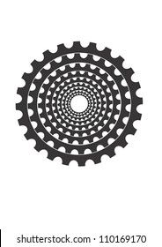This illustration depicts bicycle gears