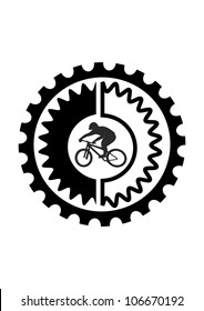 This illustration depicts mountain bike rider in gear