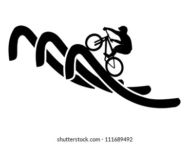 This illustration depicts mountain bike rider on curved line
