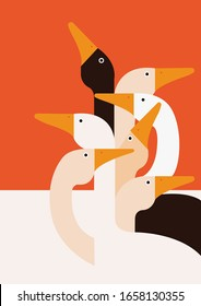 This is an illustration with many geese heads in different colors.