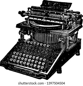 This illustration represents A 19th century Caligraph typewriter vintage line drawing or engraving illustration.